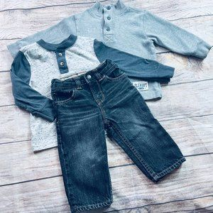 Boys 12-18m Gap jean + LS tee and sweater